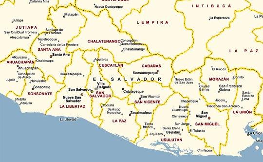 Distancias de los departamentos de El Salvador
