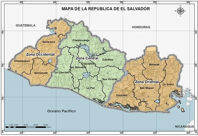 Mapa de zonas de El Salvador