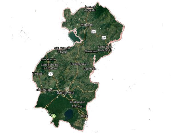 Mapa de Santa Ana El Salvador satelital