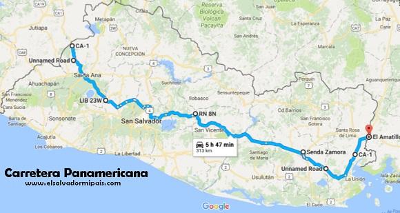 Mapa de la Carretera Panamericana en El Salvador