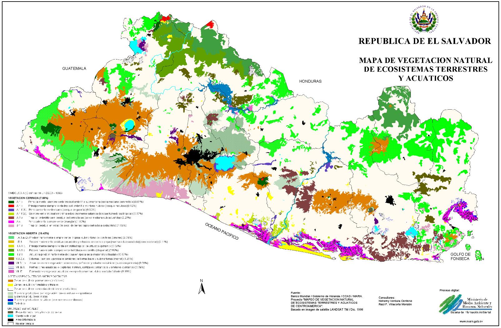 Mapa de vegetación en El Salvador